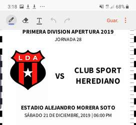 Entradas a la gran final liga vs herediano