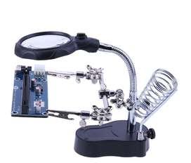 Soporte herramienta ayuda para soldadura con lupa 2x led