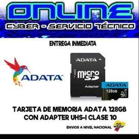 TARJETA DE MEMORIA ADATA 128GB CLASE 10 MAYOR $21,00