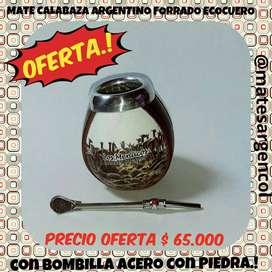 SUPER OFERTA ! MATE CALABAZA ARGENTINO FORRADO con BOMBILLA ACERO con PIEDRA DECORATIVA !
