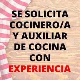 Se solicita COCINERO/A y AUXILIAR DE COCINA con EXPERIENCIA