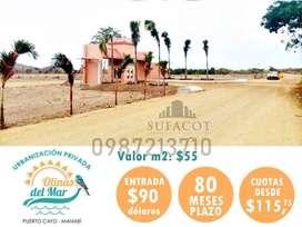 LOTES EN EL MAR, VALOR DEL M2 55 USD, URBANIZACIÓN OLINAS DEL MAR, PUERTO CAYO S1