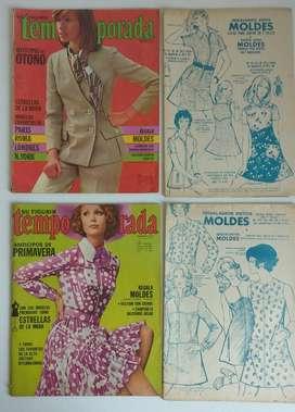 Lote Revistas Temporada Añs 70 Moldes modista indumentaria diseño lote
