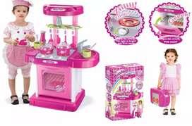 Cocina maletín, juguete,horno luz,sonidos princesa,rosada