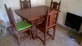 Mesas Comedor 1.20x80 En Algarrobo Macizo  4 Sillas