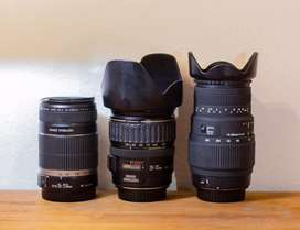 Lentes canon 28-135  canon 55-250 Sigma 70-300