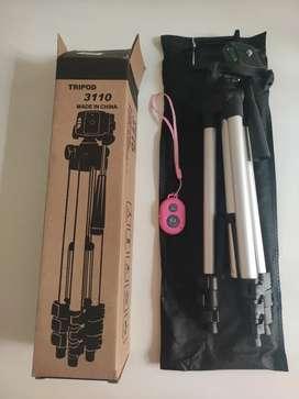 Trípode fotográfico 3110 + Estuche + Soporte Celular - 107cm+ Mini control