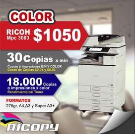 Copiadora Impresora Ricoh Mpc 3003 Full Color