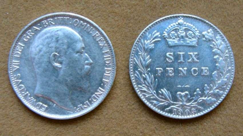 Moneda de 6 peniques de plata Gran Bretaña 1903 0