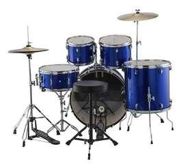 Batería Acústica 5 piezas Ludwig accent Azul con silla y platillos nueva
