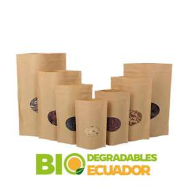 Fundas Stand Up / Doypack Con Zipper Papel Kraft Ecologicas