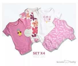 Set x4 bodys manga corta marca BABY KOALA
