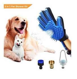 Gratis Envio Manguera para Baño de Mascota Pet Bathing Glove 2en1