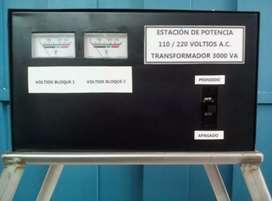 Transformador - Estación eléctrica 110 – 220 Voltios AC. Transformador 3000 VA