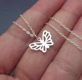 Collar de plata 950 dijes cadenas de mujer mariposas personalizadas