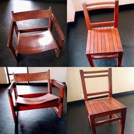 Vendo 6 sillas y 2 sillones individuales