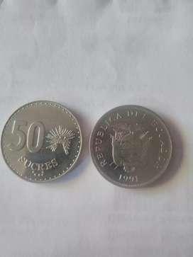 Moneda de 50 sucres 1988 - 1991