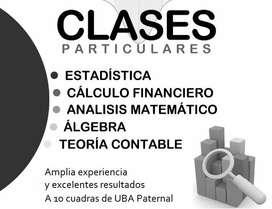 CLASES: ESTADÍSTICA, ÁLGEBRA, ANÁLISIS MATEMÁTICO y CÁLCULO FINANCIERO // PRESENCIAL O POR INTERNET // 15-*-2580-*-5426