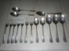 Cubiertos Alpaca Silco USA, 7 tenedores, 8 cucharas, usados.