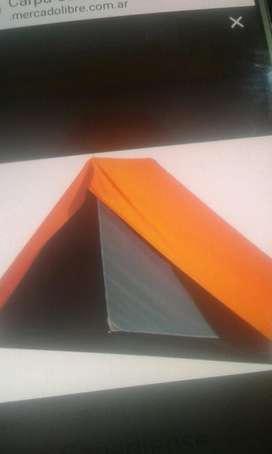 Vendo Carpa para Seis Personas color verde militar sobretecho lona impermeable naranja