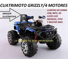 CUATRIMOTO MOTO CARRO INFANTIL 2 A 8 AÑOS GRIZZLY 4  X 4 MONTABLE INFANTIL