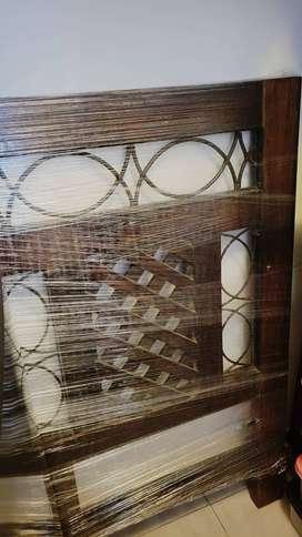 Juego de Dormitorio = Cama madera Caoba con 2 cajones 2 plazas  + 2 Veladores + Colchon Rosen Uno 8 de 2 Plazas