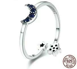 Anillo de Plata 925 Cuarto de Luna y Estrellas con Zircones azules