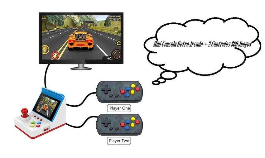 Mini Consola Retro Arcade + 2 Controles 360 Juegos