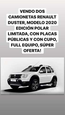 VENDO DOS CAMIONETAS RENAULT DUSTER POLAR EDICION LIMITADA, MODELO 2020, 4x4, 2.0, FULL EQUIPO, CON CUPO,PLACAS PUBLICAS