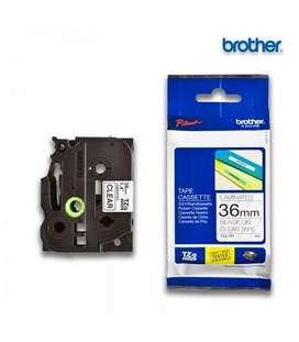 Cinta Brother TZE-161 Texto negro sobre fondo transparente 36mm x 8m