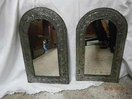 Espejo en latón niquelado alargado mediano X 2 PRECIO X C/U