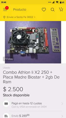 Combo Athlon + Placa madre + 2gb DDR3