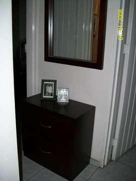 Mueble Cajonero Consola De Madera Con Espejo Para Pasillo