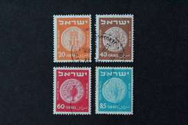 4 ESTAMPILLAS ISRAEL, 1952, MONEDA DE 1952, USADA