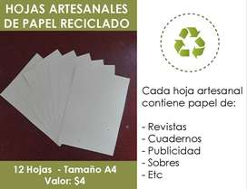 Hojas de papel reciclado artesanales