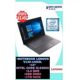 "Notebook lenovo V130-14Ikb, 14"", intel core I5-8250U, 3.4GHz, 8GB DDR4, 1TB SATA"