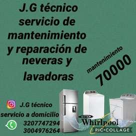 J.G tecnico reparación y mantenimiento de neveras y lavadoras