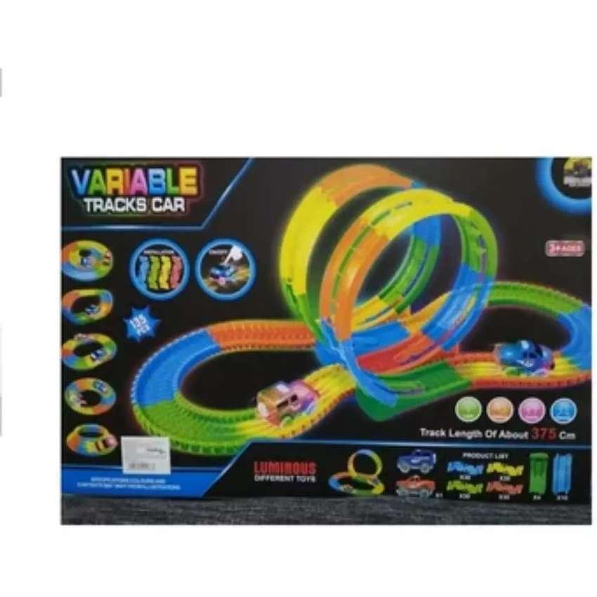Pista variable 3 vueltas carros magic track luz gd-8142a