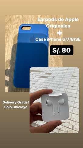 Earpods Nuevos ORIGINALES + Case Regalo iPhone 6/7/8