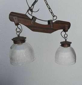 lampara de techo de dos luces estilo country