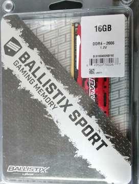 Memoria RAM PC 16 GB Crucial DDR4 Ballistix-2666 MHZ Gaming
