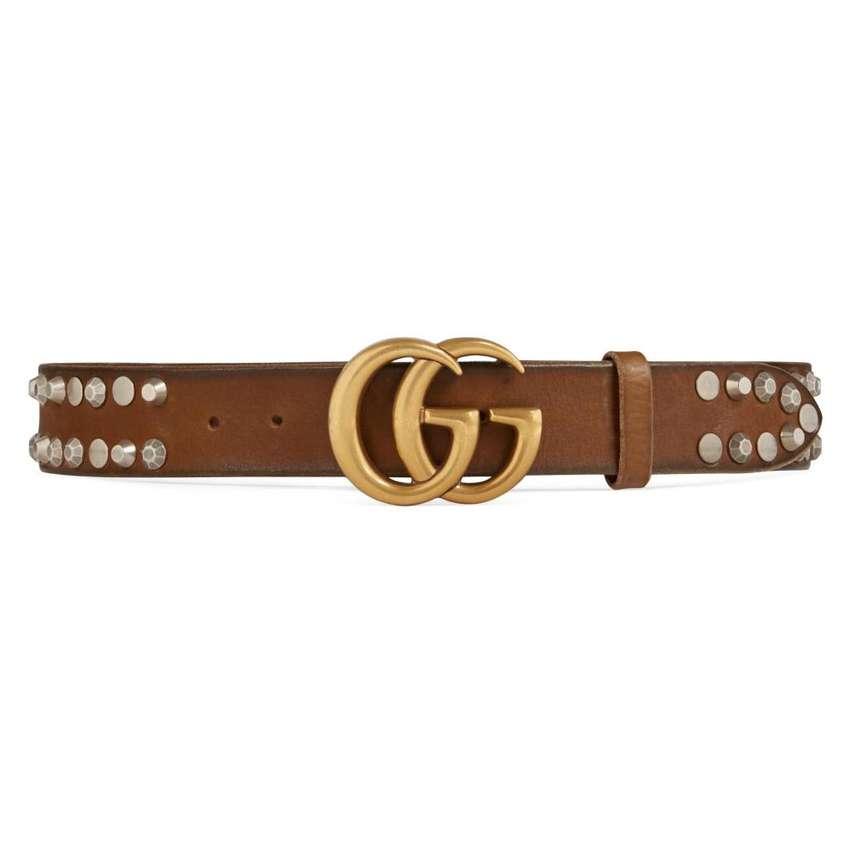 Cinturón Gucci tachonado con hebilla doble G 0