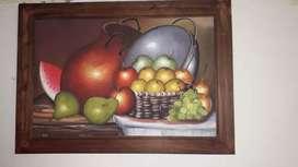 Cuadro al óleo y cuadro tallado
