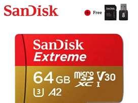 Micro SD Extreme U3 64 GB + Adaptadores