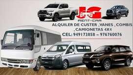 ALQUILER DE CAMIONETAS PARA MINA, ALQUILER DE CAMIONETAS 4X4, ALQUILER DE VAN, TRANSPORTE DE PERSONAL