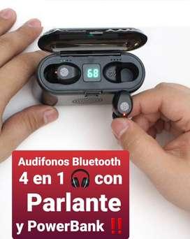 AUDIFONOS Bluetooth con PARLANTE y POWERBANK 4 en 1 AREQUIPA89