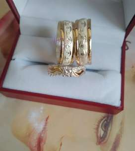 Anillos  mega combo happy oro nacional 18k y plata ley 925