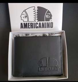 Billetera americanino cuero caja marcada