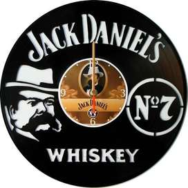 reloj de pared en disco de acetato o LP JACK DANIELS