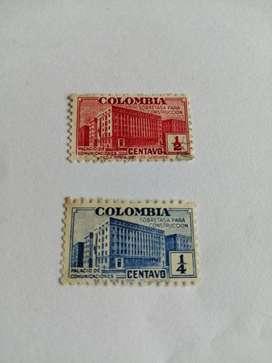 ESTAMPILLA ½ y ¼ CENTAV0 COLOMBIA PALACIO DE COMUNICACIONES AMBAS POR $38000